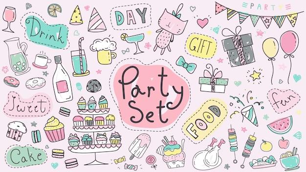 Cute party set doodle dessinés à la main en couleur pastel.
