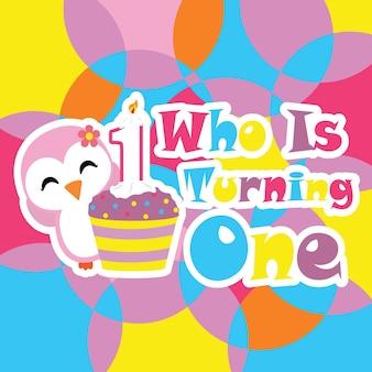 Cute penguin girl avec birthday cupcake cartoon, carte postale d'anniversaire, papier peint et carte de voeux, t-shirt design pour enfants