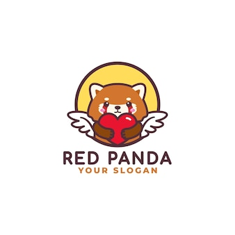 Cute red panda hugging heart care logo mascot baby shop