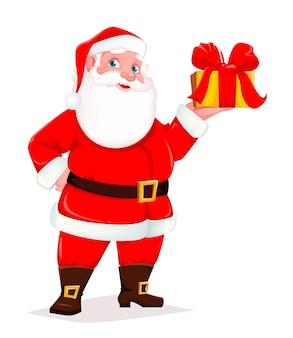 Cute santa holding boîte-cadeau
