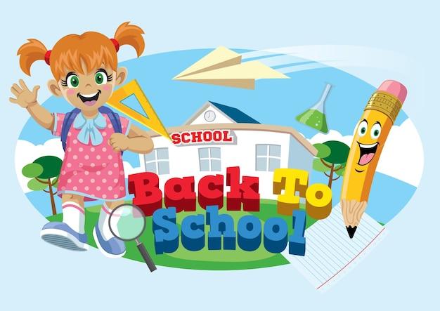 Cute school girl avec le concept de retour à l'école