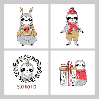 Cute sloth, collection de cartes de joyeux noël. illustrations drôles pour les vacances d'hiver. doodle ours paresseux paresseux et inscriptions de lettrage. bonne année et ensemble d'animaux de noël.