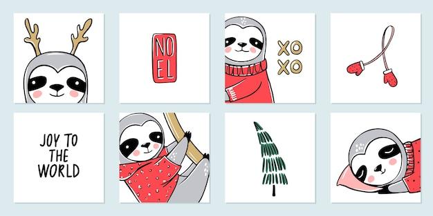 Cute sloth, collection de cartes de joyeux noël. illustrations drôles pour les vacances d'hiver. doodle ours paresseux paresseux