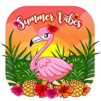Cute summer vibes flamingo