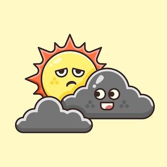 Cute sunshine bloqué par cute cloud.