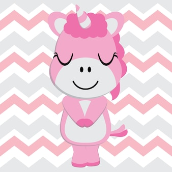 Cute unicorn bébé est en train de dormir sur un dessin animé vecteur de fond de chevron, mur de nursery enfant, fond d'écran et carte de voeux, design de t-shirt pour les enfants