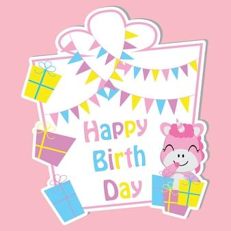 Cute unicorn avec des boîtes à cadeaux colorées et du drapeau sur le dessin vectoriel cadre, carte postale d'anniversaire, fond d'écran et carte de voeux, design de t-shirt pour les enfants
