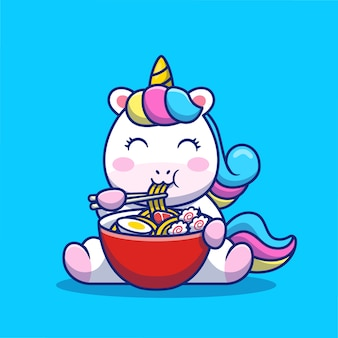 Cute unicorn eat ramen noodle cartoon icon illustration. concept d'icône de nourriture animale isolé premium. style de bande dessinée plat