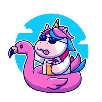 Cute unicorn summer wearing flamingo swim ring cartoon icon illustration. icône d'été des animaux isolé. style de bande dessinée plat