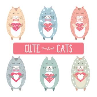 Cute valentine chats avec des coeurs roses