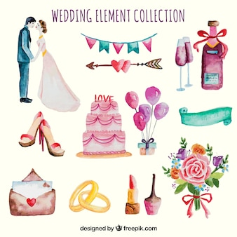 Cute watercolor wedding elements