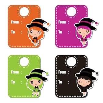 Cute witch girls sur fond coloré vecteur illustration de dessin animé pour la conception d'étiquettes halloween, ensemble de bannière et conception de jeu d'autocollant d'enfant