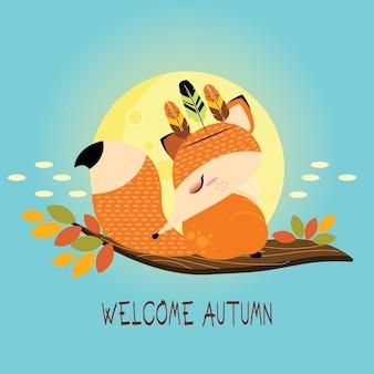 Cutie foxy accueillant l'automne