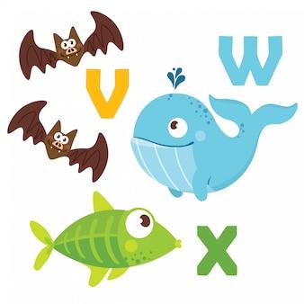 Cuve, baleine, poisson avec lettres de l'alphabet