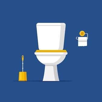 Cuvette de toilette classique en céramique blanche avec papier pour réservoir d'eau et brosse de style plat