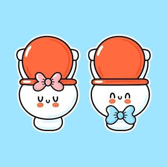 Cuvette de toilette mignon drôle heureux garçon et fille blanc
