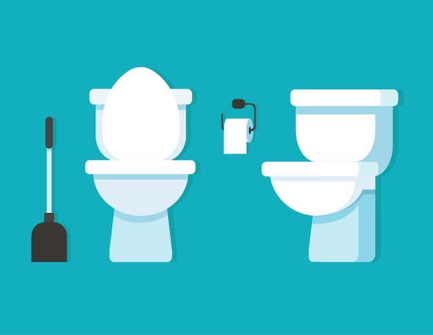 Cuvette de toilette, papier toilette, brosse de toilette.