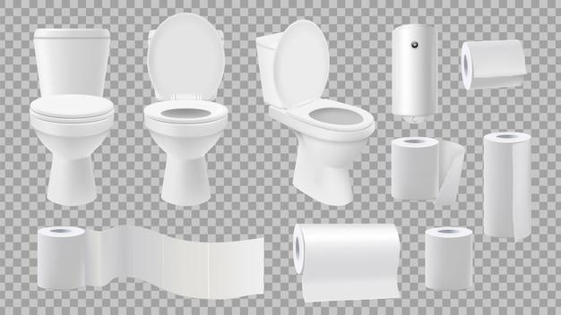 Cuvette De Toilette Réaliste. Accessoires De Toilettes Isolés Sur Fond Transparent. Vecteur Premium