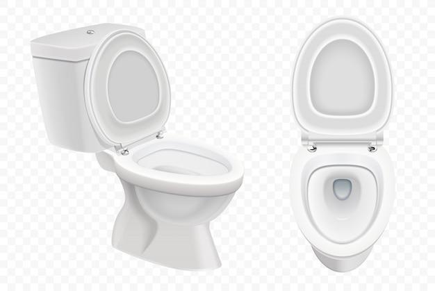 Cuvette de toilette réaliste, toilettes blanches 3d isolé