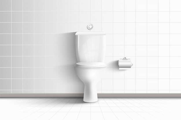 Cuvette de toilettes réaliste et architecture moderne de salle de repos intérieure et design décoratif., siège d'hygiène wc sur carreaux de céramique