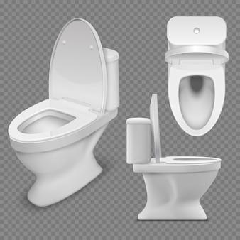 Cuvette des toilettes. toilette de maison blanche réaliste en vue de dessus et de côté. illustration vectorielle isolé