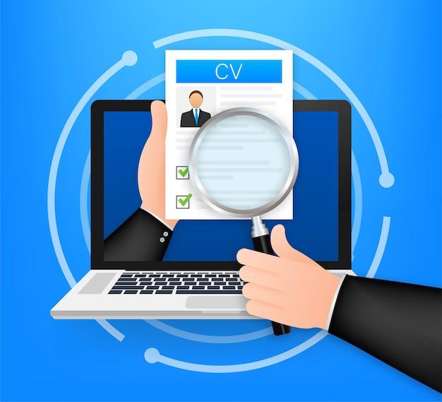Cv curriculum vitae. notion d'entretien d'embauche. rédaction d'un curriculum vitae. ordinateur portable avec cv personnel. illustration vectorielle