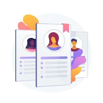 Cv des employés, cv des candidats. les travailleurs d'entreprise, les étudiants id isolent l'élément de design plat. candidatures, avatars, informations personnelles.