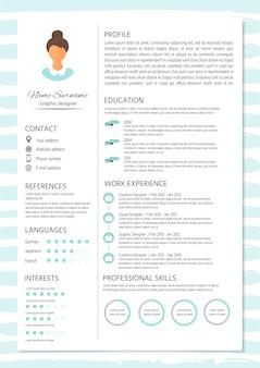 Cv féminin avec design infographique. ensemble de cv élégant pour les femmes.