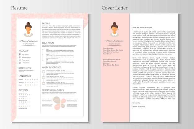 Cv féminin et lettre de motivation avec design infographique. ensemble de cv élégant pour les femmes. vecteur propre.