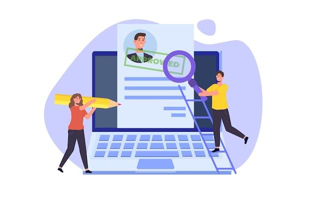 Cv en ligne, embauche, sélectionnez le concept de processus de cv. les responsables des ressources humaines de l'entreprise embauchent un employé en ligne. illustration vectorielle