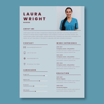 Cv médical d'infirmière bichromie minimaliste