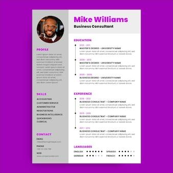 Cv violet professionnel simple de consultation de micro