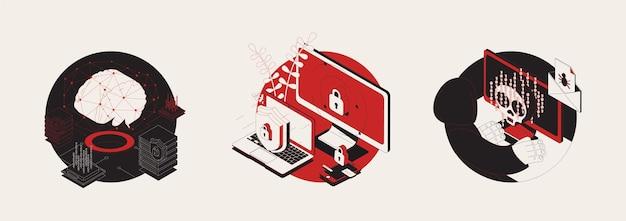 Cyber-attaque ensemble de trois illustration ronde isolée