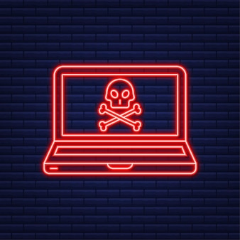 Cyber-attaque. icône néon. phishing de données avec hameçon, ordinateur portable, sécurité internet. illustration vectorielle de stock.