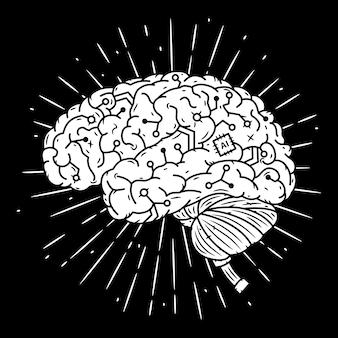 Cyber cerveau. illustration dessinée à la main avec le cerveau et les rayons divergents.