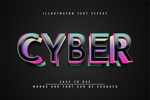 Cyber - conception d'effet de texte 3d modifiable illustrator