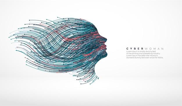 Cyber dame avec fibre optique