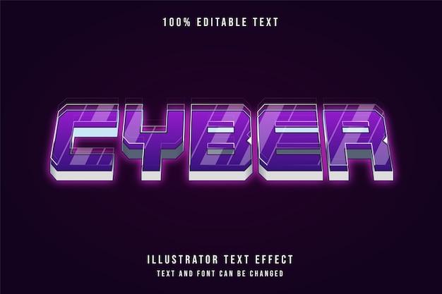 Cyber, effet de texte modifiable 3d style néon dégradé violet
