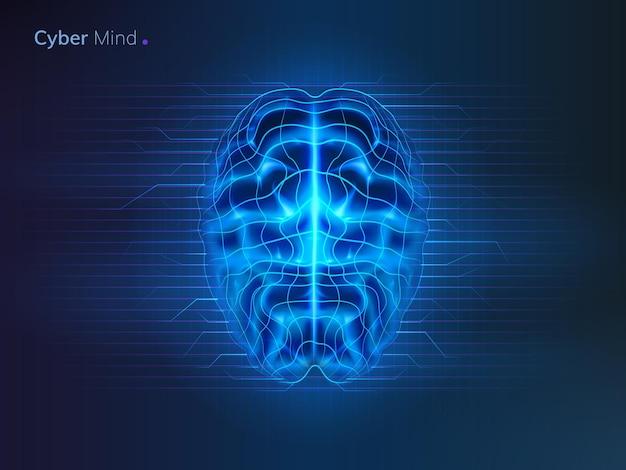 Cyber esprit ou réseau neuronal du cerveau d'intelligence artificielle ou arrière-plan d'apprentissage automatique futuriste