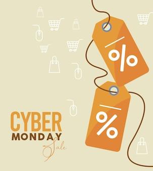 Cyber lundi avec des balises de pourcentage