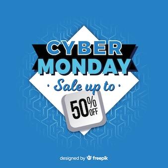 Cyber lundi en bannière design plat
