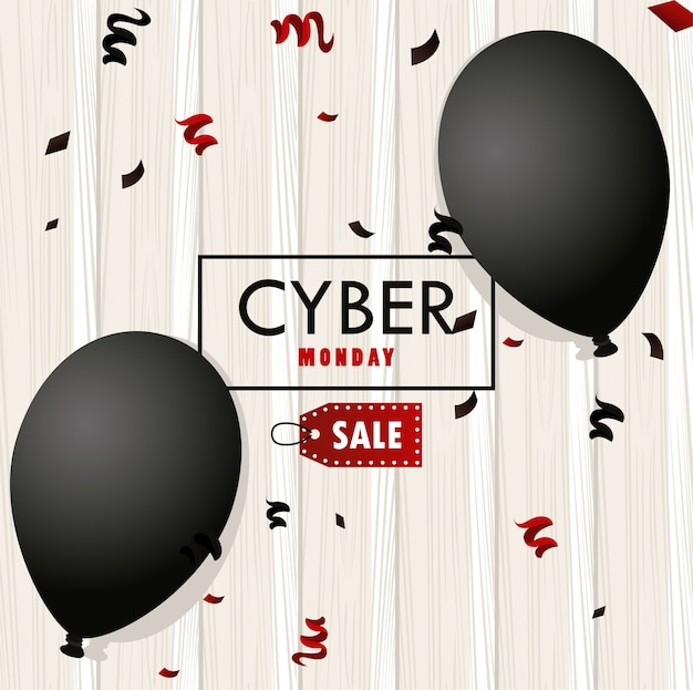 Cyber lundi avec de l'hélium de ballons noirs sur fond de bois.
