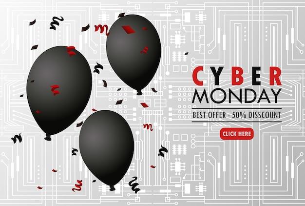 Cyber lundi avec de l'hélium de ballons noirs sur fond gris.