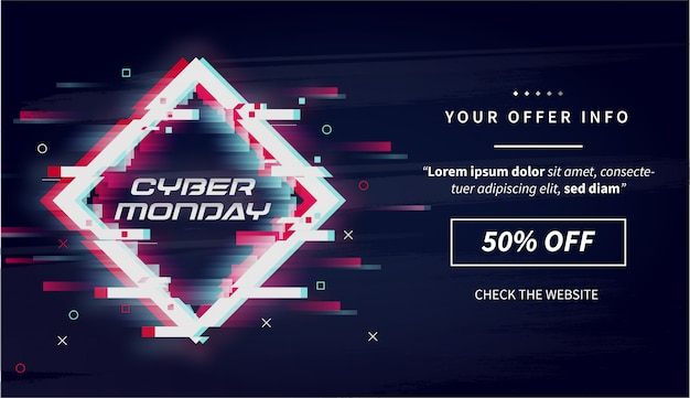 Cyber lundi moderne vente avec bannière glitch