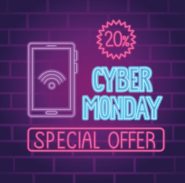 Cyber lundi néon lettrage avec smartphone et conception d'illustration de joint