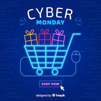 Cyber lundi avec néon panier lumière