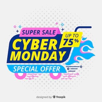 Cyber lundi plat avec des offres de super vente