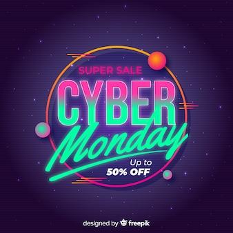 Cyber lundi rétro futuriste