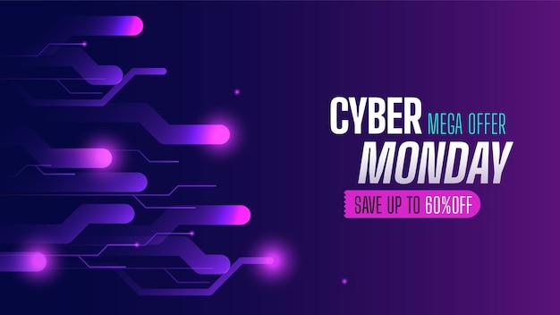 Cyber lundi de technologie réaliste et bannière d'offre