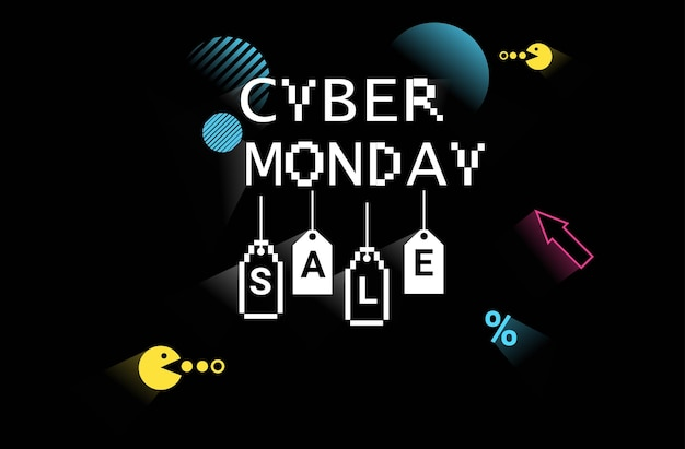 Cyber lundi vente en ligne affiche publicitaire flyer vacances shopping promotion 8 bits pixel art style bannière horizontale illustration vectorielle
